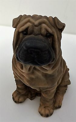 Vintage Castagna Chinese Shar-Pei Resin Figurine Dog 1988 4.25 Inches