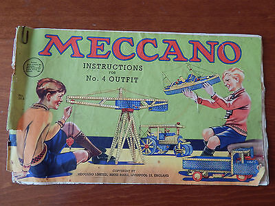 Vintage Rare Meccano For Instructions No. 4 Outfit Old Booklet