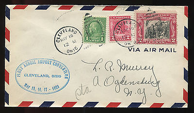 (1929) Cleveland Ohio Airport Convention Air Mail cover Ogdensburg NY