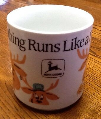 "John Deere Coffee Mug With Deer Family -""Nothing Runs Like A Deere"".  Unique HTF"