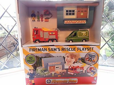 Fireman Sam 10 Piece Rescue Playset Including Mike Floods Van And Garage - New