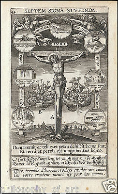 Holy Card Calvary Crucifixion Passion Angel Music 16th Century Engraving Mystic
