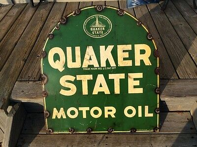 Vintage Quaker State Tombstone Sign