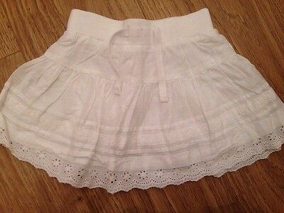 NEXT Baby Girls White Cotton Frilly Ruffle Skirt, Age 9-12 Months