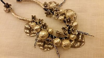 Handmade Leaf Flower Hill Tribe Pure Silver Necklace
