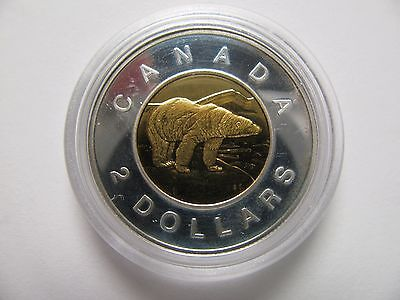 1999 Proof $2 toonie Canada .925 silver w/ gold plate two dollars twoonie