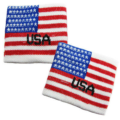 Pair of USA Flag Wrist Sweatband Cheering Squad Sports Fans American Wristbands