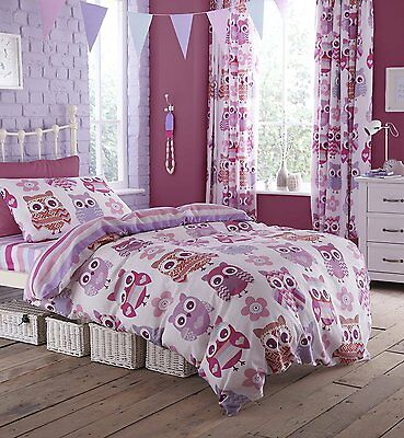 Catherine Lansfield Owl Single Bed Fitted Sheet - Pink