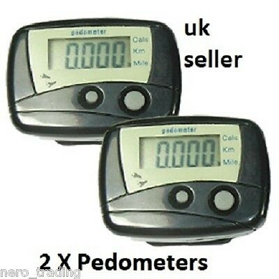2X LCD Digital Pedometer Calorie Counter Step Walking Fitness Exercise Running