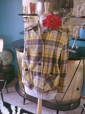 Vintage 1940s Plaid Jacket Yellow Wool 49er Swing Rockabilly M L 40s 1950s