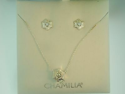 Chamilia SNOW STAR  4016-0014  Dancing Crystal Sterling Necklace & Earring Set