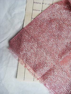 Piece Antique French Lame Fabric Pink/Silver Metallic Flapper