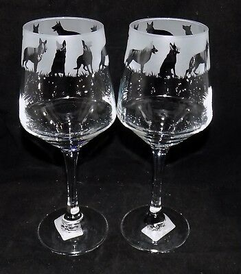 """New Etched """"GERMAN SHEPHERD"""" Wine Glass(es) - Free Gift Box - Large 390mls Glass"""