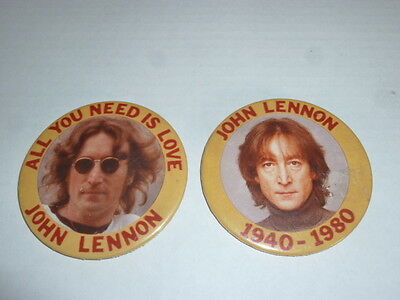 JOHN LENNON Vintage (2) Pinback Button LOT memorial 2 1/4 INCH all you need love