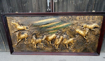 Vintage Chinese Restaurant 3D 8 Horses Mural - Wall picture Decor Art