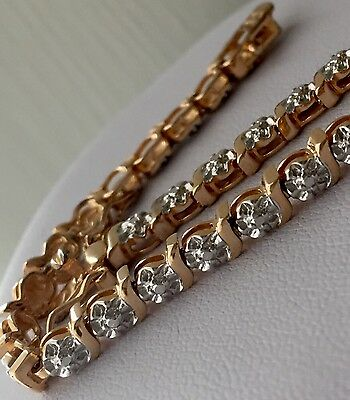 Vintage 925 Sterling Silver Gold Diamond Chain Tennis Bracelet 10.5g 5mm 7 1/4