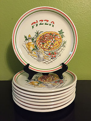 4 Tre C Pizza Chef Dinner Plates Italy Mushrooms Olive Oil Parmesan Ironstone