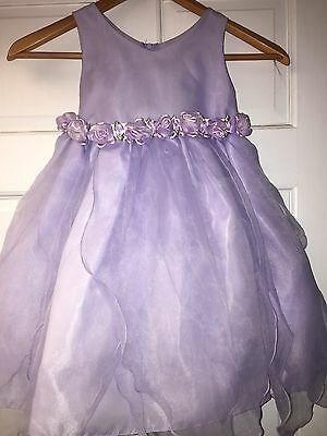 Girls Size 4 Purple Lilac Flower Dress Wedding Formal Holiday Fancy