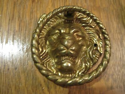 Vintage heavy Brass Door Knocker ~ Shape of a lions face 2 3/4 inch