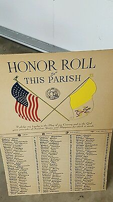 Large Holy Name Society Cardboard Banner Ww2 Casualties? Look! 2 By 3 Feet