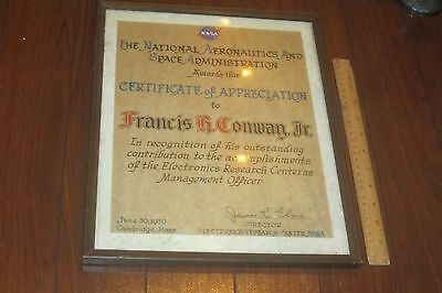 Nasa Document Certificate To Francis Conway From James C. Elms 1970, Signed Look