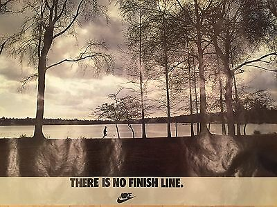 """Vintage NIKE Running Poster, """"There Is No Finish Line"""" - Vintage NIKE POSTER"""