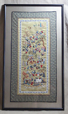 Embroiderd Gold Wall Hanging -  Framed and Matted Under Glass