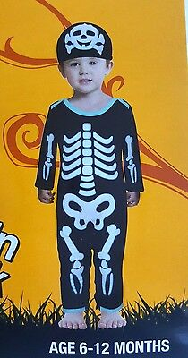 Baby Infant Skeleton Bodysuit Halloween Costume size age 6-12 months Toddler