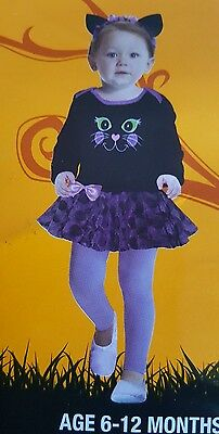 Infant Baby  Cat Bodysuit Halloween Costume age 6-12 months Black Pink Purple