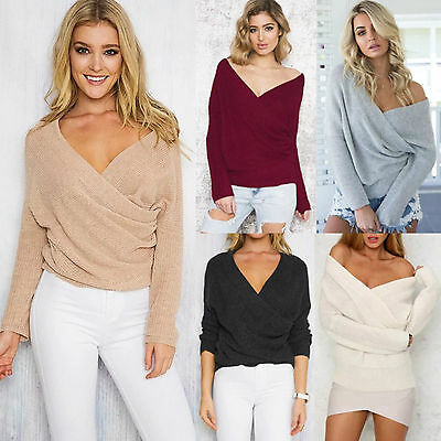 Womens Front Cross V Neck Jumper Tops Long Sleeve Wrap Sweater Knitted Blouse