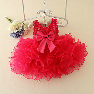 Newborn Baby Girl Party Princess Pageant Tutu Kids Toddler Pearl Flower Dress