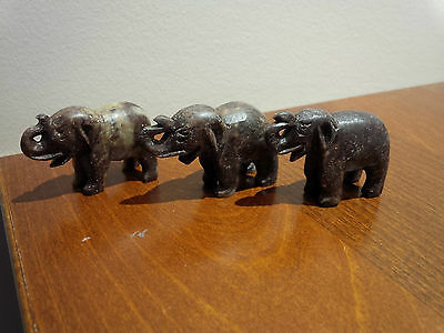 Chinese Hand Carved Soap Stone 3 elephants