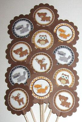 Woodland Animal Cupcake Toppers/Party Picks  Item #941