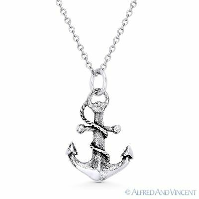 Antique-Finish Sailor's Anchor Luck Charm 925 Sterling Silver Pendant & Necklace