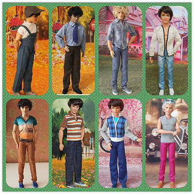 4 Sets Handmade Casual Clothes & Trousers Outfits For Barbie Boyfirend Ken Dolls