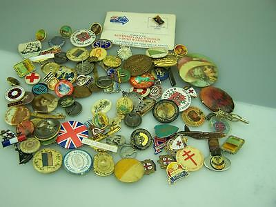 Assortment badges, pins, medallions over 90 pieces! various ages