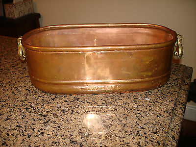 VINTAGE  COPPER PLANTER with 2 Brass Handles and Rustic Finish
