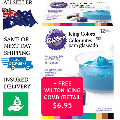 Wilton Icing Colours 12 Set Food Colouring Gel Paste - Fondant Cake Pack Colour