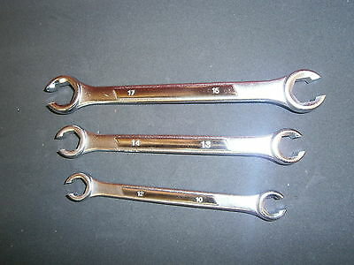 3PC Flare Nut and Line Wrench Set Spanners Tools Auto Mechanic Metric
