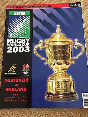 AUSTRALIA v ENGLAND RUGBY WORLD CUP FINAL 2003 OFFICIAL ORIGINAL PROGRAMME