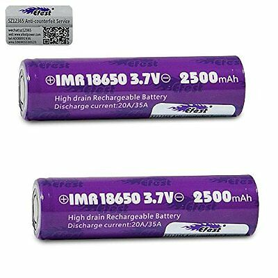 x 2 Efest 18650 2500mAh 20A IMR High Drain Flat Top Battery Independently Tested