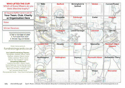 50 x `Cup Winners` Rugby Union Fundraising/Scratch Cards - for Club, Charity