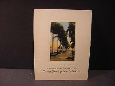 Vintage 1920s EASTER Card w/Colored Real Photo Miniature-ROYAL PALMS+BAY-FLORIDA