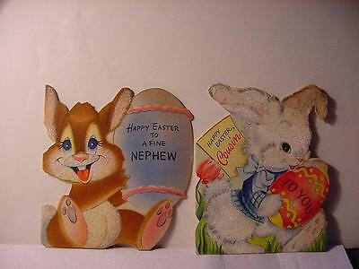 Vintage 1940/50s HALLMARK EASTER Card Lot w/RABBITS: Flocked + Carrying an EGG