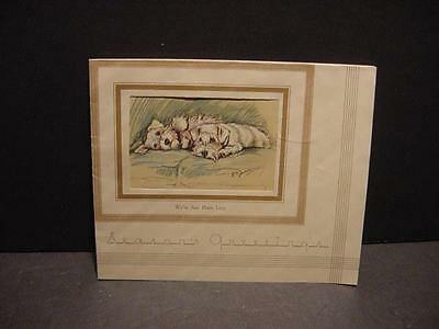 Vintage 1930s Christmas Card w/Pair of Dogs: SEALYHAM TERRIER by Lucy Dawson