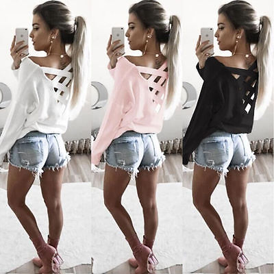New Fashion Womens Ladies Loose Backless T Shirt Long Sleeve Cotton Tops Blouses