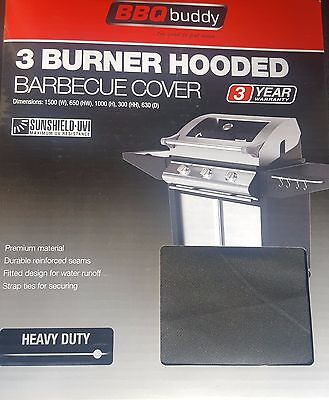 New BBQ Buddy 3 Burner Hooded Barbecue Cover sunshield tough heavy duty