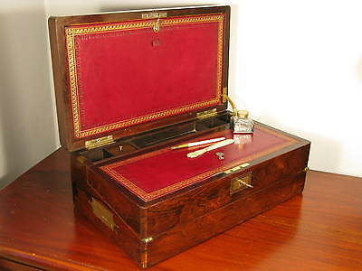 Vintage Antique Victorian Mahogany Wood Writing Slope Lap Desk Cabinet Box C1880