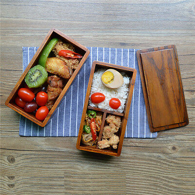 Japanese Traditional Natural Wood Bento Sushi Lunch Box Double Containers Square