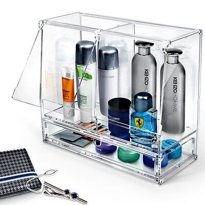 Clear Organizer for Men Perfume Cologne Acrylic Mens Gift Accessories Case